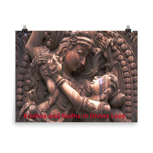 Photo paper poster - Krishna and Radha in Divine Love IMAGES OF GOD