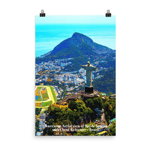 Poster - Awresome Aerial view of Rio de Janeiro with Christ Redeemer and Corcovado Mountain. Brazil. IMAGES OF GOD