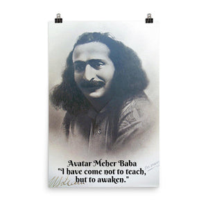 "Poster - Meher Baba - "" I have come not to teach, but to awaken"" - Hinduism -  India IMAGES OF GOD"