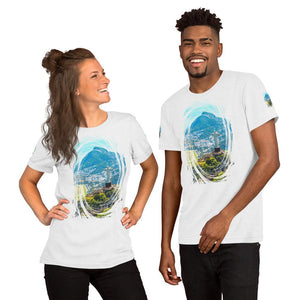 Short-Sleeve Unisex T-Shirt - Awesome Aerial view of Rio de Janeiro with Christ Redeemer and Corcovado Mountain. Brazil. IMAGES OF GOD