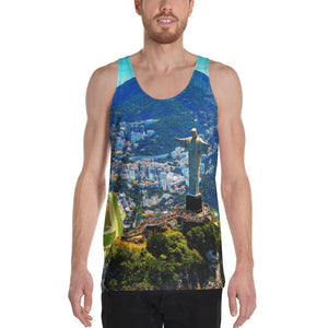 Unisex Tank Top - Awresome Aerial view of Rio de Janeiro with Christ Redeemer and Corcovado Mountain. Brazil. IMAGES OF GOD