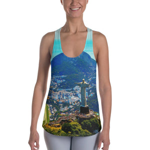 Women's Racerback Tank - Awresome Aerial view of Rio de Janeiro with Christ Redeemer and Corcovado Mountain. Brazil. IMAGES OF GOD