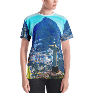Women's T-shirt - Awresome Aerial view of Rio de Janeiro with Christ Redeemer and Corcovado Mountain. Brazil. IMAGES OF GOD