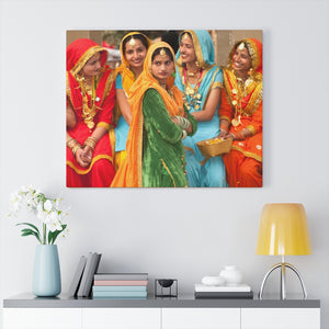 Printed in USA - Canvas Gallery Wraps - Colorfully Dressed Indian ladies Annual Surajkund Festival near Delh - international crafts fair - India - Hinduism