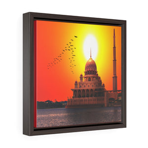 Square Framed Premium Canvas - The Putra Mosque - Malaysia - Islam