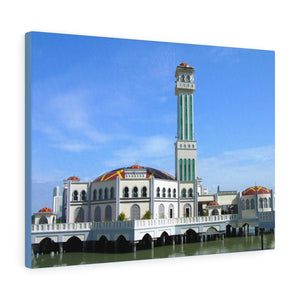 Printed in USA - Canvas Gallery Wraps - Floating Mosque of Tanjung Bungah, Penang island, Malaysia - Islam