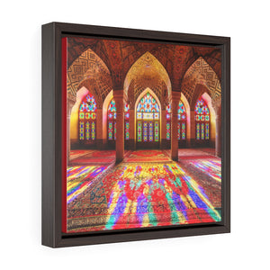 Square Framed Premium Canvas - Nasir Al-Mulk Mosque in Shiraz, Iran - Islam