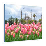 Printed in USA - Canvas Gallery Wraps - The Blue Mosque, Sultanahmet Camii with pink tulips, Istanbul, Turkey. ROYALTY-FREE STOCK PHOTO The Blue Mosque, Sultanahmet Camii with pink tulips, Istanbul, Turkey - Malaysia - Islam