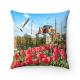 Faux Suede Square Pillow - Hagia Sophia - an historic  Mosque in Istanbul