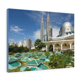 Printed in USA - Canvas Gallery Wraps - Kuala Lumpur Cityscape with twin tower and Mosque -  Islam