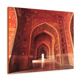 Printed in USA - Canvas Gallery Wraps - Inside of the Taj Mahal mosque - red stone with exquisite carvings -  India - Islam