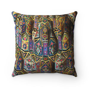 Faux Suede Square Pillow - Amazing Exterior detail of the Nasir al-Mulk mosque in Shiraz, Iran - Islam