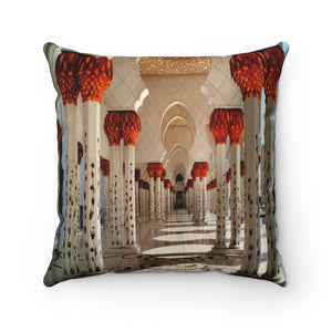 Faux Suede Square Pillow -  Inside wonders of Shikh Zayed Grand mosque in Abu Dhabi - UAE