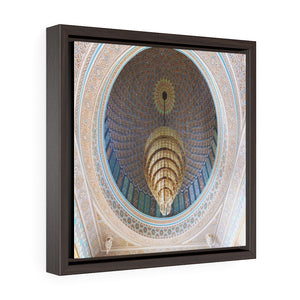 Square Framed Premium Canvas - Luster inside of the Grand Mosque in Kuwait - Islam