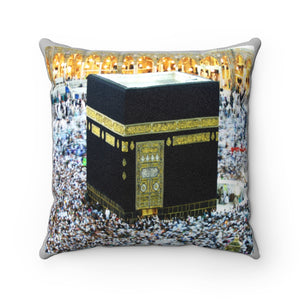 Faux Suede Square Pillow - Holly Kaaba in Mecca, Saudi Arabia - Islam