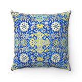 Faux Suede Square Pillow - Tiled background, oriental ornaments from Isfahan Mosque, Iran