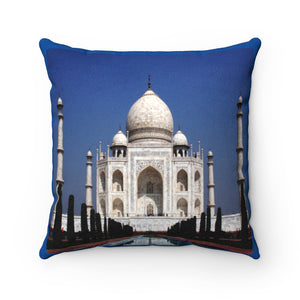Faux Suede Square Pillow -  The awesome Taj Mahal - A moslem mausoleum - Agra, India