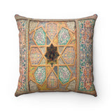 Faux Suede Square Pillow - Wooden ceiling, oriental ornaments from Khiva, Uzbekistan