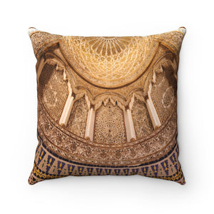 Faux Suede Square Pillow - Cupola of the Grand Mosque in Kuwait City, Middle East - Islam