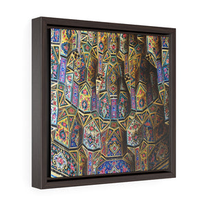 Square Framed Premium Canvas - Exterior detail of the Nasir al-Mulk mosque Iran - Islam