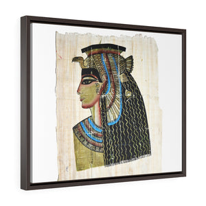 Horizontal Framed Premium Gallery Wrap Canvas -  Queen Cleopatra on Egyptian Papyrus - Egypt - Ancient religions