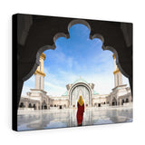 Printed in USA - Canvas Gallery Wraps - Malaysia Mosque with Muslim praying in Malaysia - Islam