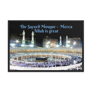 Framed poster - The Sacred Mosque - (Great Mosque of Mecca) - Arabic - Mecca - Islam - 	 Allah is great