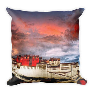 Premium Pillow - The Holy Temple Lhasa in Tibet and Maha Yogi Milarepa - Tibetan Buddhism