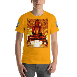 Short-Sleeve Unisex T-Shirt - Gildan 3001 -  Baghavan Mahavir in front and the Golden temple on back and sides - Hinduism