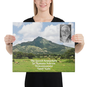 Canvas - The Sacred Arunachala Mountain - Home of Sri Ramana Maharashi - Tiruvannamalai in Tamil Nadu - India - Hinduism