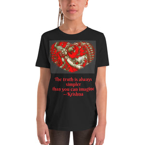 Youth Short Sleeve T-Shirt - Bella + Canvas 3001Y - Krishna Message of Love - Hinduism