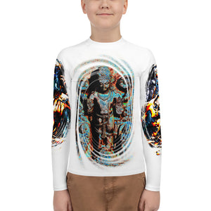 Youth Rash Guard - AOP - Hindu Vishnu/Shiva images front/back,  and arms - in vortex of power - Hinduism