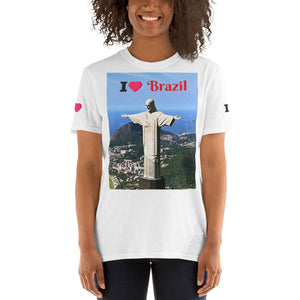 Gildan 64000 UX - Short-Sleeve Unisex T-Shirt - Christ the Redeemer (Cristo Redentor) Front (I Love Brazil ) - Lady of Aparecida SP Brazil Back