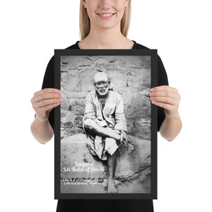 Framed poster (B&W) - Satguru Sai Baba of Shirdi - Maharashtra - India, Hinduism and Islam