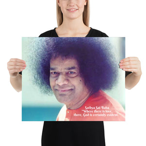 Poster - Sathya Sai Baba - Bhakti and Karma Yoga - Hinduism - India