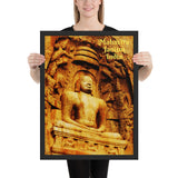 Framed poster - Rock-cut sculpture of Mahavira - Janism - India