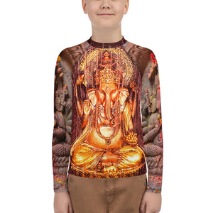Youth Rash Guard - Ganesha images on front/back and arms - Blessings and protection - Hinduism