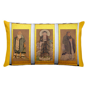 Premium Pillow - The Three Masters - Lao Tzu - Confucius and Buddha - Streams of Knowledge