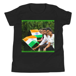 Youth Short Sleeve T-Shirt - Bella + Canvas 3001Y - India independence flags - Hinduism