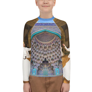 Youth Rash Guard - AOP - Moslem mosque on front/back, Sufi sacred dances on arms - Islam