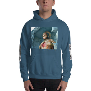 Hooded Sweatshirt - Hanuman front/back and sides - Ramakrishna - The power of LOVE - Hinduism