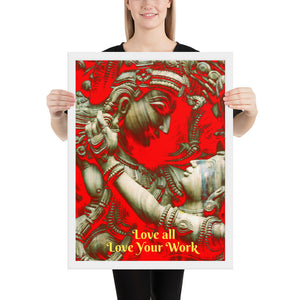 Framed poster - Raddha-Krishna - For business environment - Love all - Love Your Work - Hinduism