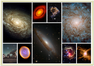 HUBBLE TELESCOPE - Premium Semi-Glossy Paper (GOLD) Metal Framed Poster - 3 galaxies in large images and the rest are nebulas
