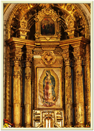 GELATO GLOBAL PRINT - Premium Semi-Glossy Paper Metal (Borde de Metal color Oro) Framed Poster - Our Lady of Guadalupe, also known as the Virgen of Guadalupe - Mexico - Catholicism