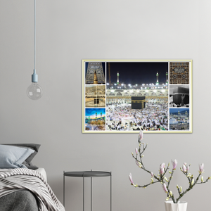 Gelato print - Premium Semi-Glossy Paper METAL (Gold color) Framed Poster - History of the Great Mosque of Mecca, the Kaaba and HAJJ - UAE - Muslim Faith - Islam