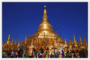 Gelato Global print - Premium Semi-Glossy Paper Wooden Framed Poster - The Shwedagon is the most sacred Buddhist pagoda in Myanmar (Burma) - Buddhism