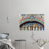 GELATO Global print - Premium Semi-Glossy Paper Wooden Framed Poster - Temple with the major Hindu Gods - Hinduism - India