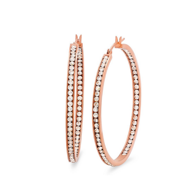 1.5IN HOOPS WITH CZ IN ROSE GOLD - DRIP MIAMI