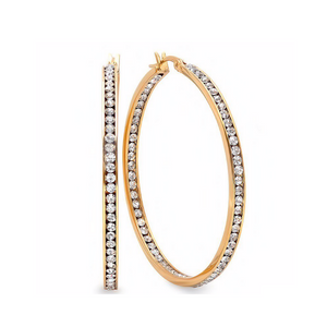 1.5IN HOOPS WITH CZ IN GOLD - DRIP MIAMI