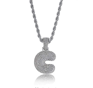 .925 C Pendant with Necklace with Silver Rope Chain - DRIP MIAMI